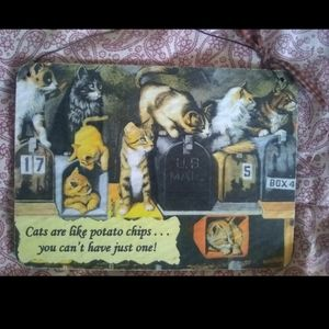 Other - NEW CAT RUSTIC HOME DECOR HANGING POSTCARD SIGN